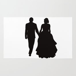 Wedding Couple Silhouette Design For Weddings Rug