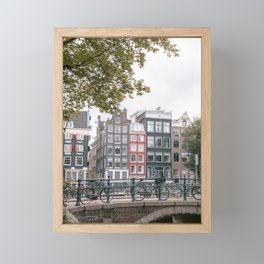 City Centre of Amsterdam, the Netherlands || Colourful travel photography wall art Cityscape Buildings Bridge Architecture Framed Mini Art Print
