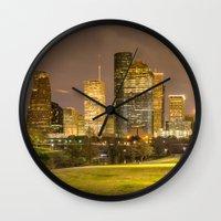 houston Wall Clocks featuring houston skyline by franckreporter