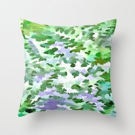 Foliage Abstract In Green and Mauve Throw Pillow