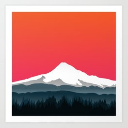 Mount Hood Winter Forest - Sunset Art Print