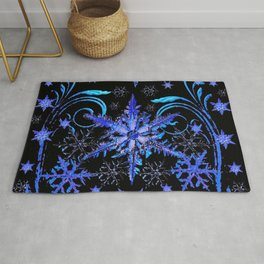 DECORATIVE BLACK & BLUE WINTER SNOWFLAKE FANTASY ART Rug