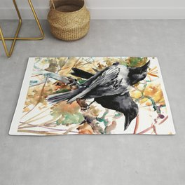 Ravens in the Fall, raven wall art Rug