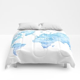 Light blue watercolor world map Comforters