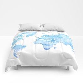 Light blue watercolor world map Comforters