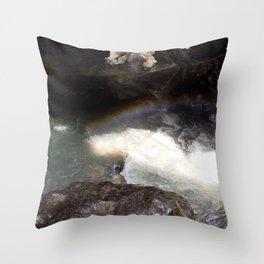 Box Canyon Falls - Rainbow on the Mist Throw Pillow