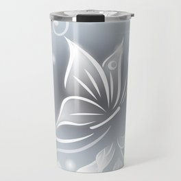 White Taupe Butterfly Fantasy Travel Mug