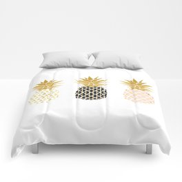 fun pineapple design gold Comforters