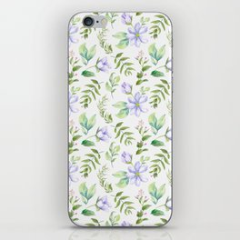 Watercolor lavender lilac green hand painted floral iPhone Skin