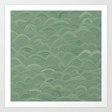 just waves aqua Art Print