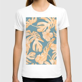 Island Hibiscus Palm Coral Teal Blue T-shirt