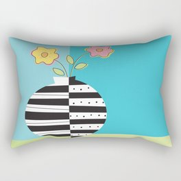 round whimsy vases with flowers Rectangular Pillow