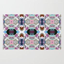 Whimsical tribal mask abstract design Rug