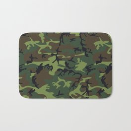 Green and Brown Camouflage Pattern Bath Mat