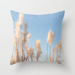 Silvery Pampas Fronds Throw Pillow