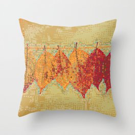 Abstract Dots Dried Leaves Throw Pillow