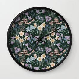 Wildflowers, moth, dragonfly on dark Wall Clock