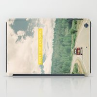 volkswagen iPad Cases featuring NEVER STOP EXPLORING - vintage volkswagen van by Leslee Mitchell