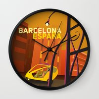 barcelona Wall Clocks featuring Barcelona by Shirong Gao