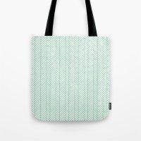 herringbone Tote Bags featuring Herringbone Mint by Project M