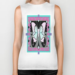 Lilac Western Style Butterfly Morph  Design   Biker Tank