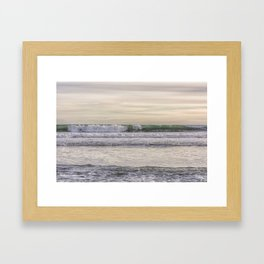 Winter waves at the beach Framed Art Print