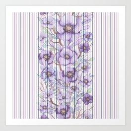 Watercolor purple lavender lilac floral stripes Art Print