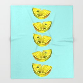 Lemon Slices Turquoise Throw Blanket