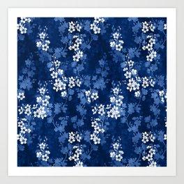 Sakura blossom in deep blue Art Print