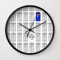 tardis Wall Clocks featuring Tardis by Megan Twisted