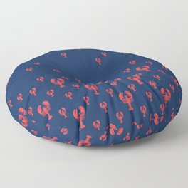 Lobster Squadron on navy background. Floor Pillow