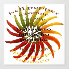 Chili Color Wheel With Hot Pepper Text Canvas Print