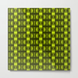 Fashionable large floral from small yellow intersecting squares in stripes dark cage. Metal Print