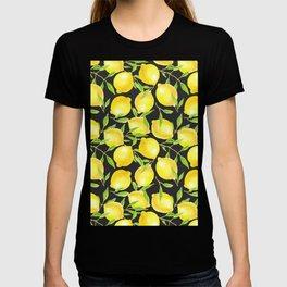 Lemons and leaves  pattern design T-shirt