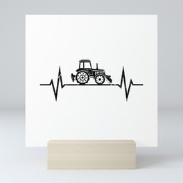 Tractor Heartbeat Farmer Farming Mini Art Print