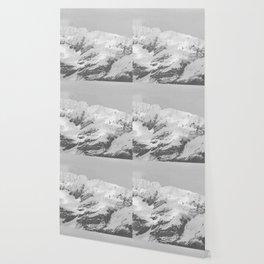 Alaska Glacier Snow Mountains Black And White Wallpaper