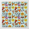 pattern with funny cute animal face on a blue background by ekaterinap