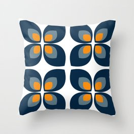 Minimal Art Mid Century Modern Leaf Flower Pattern Blue and Orange Throw Pillow
