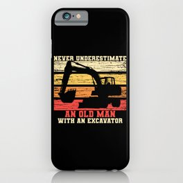 Old Man With An Excavator iPhone Case