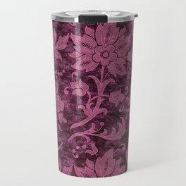 Burgundy Turquoise Velvet Floral Pattern 03 Travel Mug