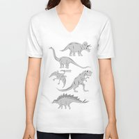 dinosaurs V-neck T-shirts featuring Dinosaurs by chobopop