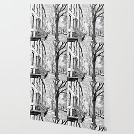Cobble Hill Brooklyn Winter Black and White Brownstone Wallpaper