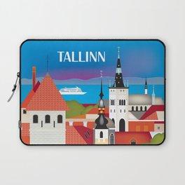 Tallinn, Estonia - Skyline Illustration by Loose Petals Laptop Sleeve