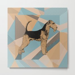 Airedale Terrier Geometric Abstract Metal Print
