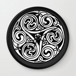 Celtic Art - Triskele - on Grey Wall Clock