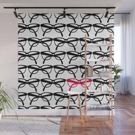 Optometrist Eye Glasses Black Pattern Print Wall Mural