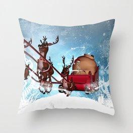 Christmas, funny skeleton Throw Pillow