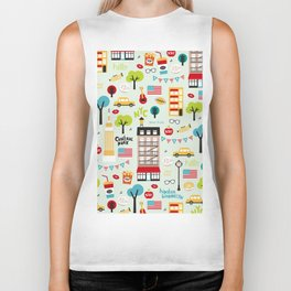 Fun New York City Manhattan travel icons life hipster pattern Biker Tank