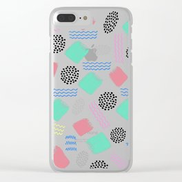 Geometrical pink teal black Memphis 80's pattern Clear iPhone Case