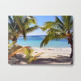 Tropical summer beach view with palms Metal Print